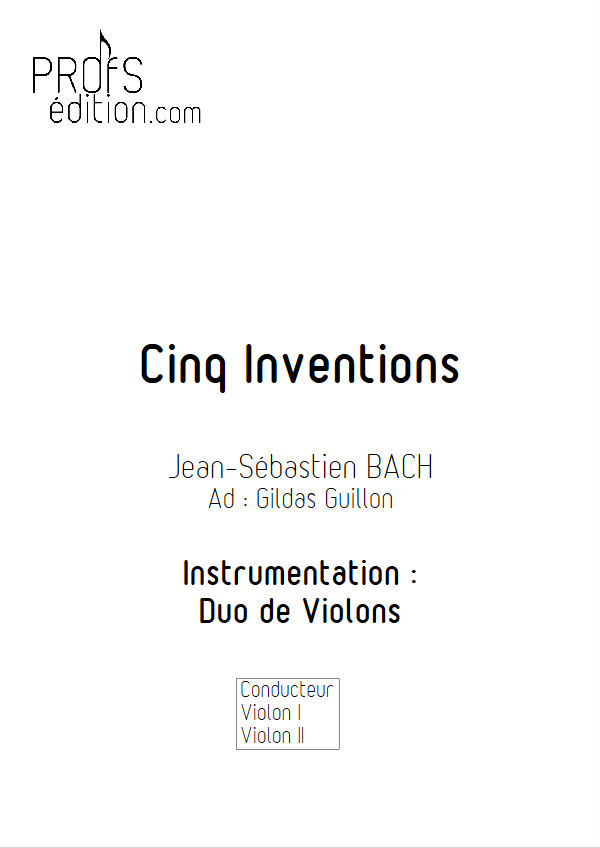 5 Inventions - Duo Violons - BACH J. S. - front page