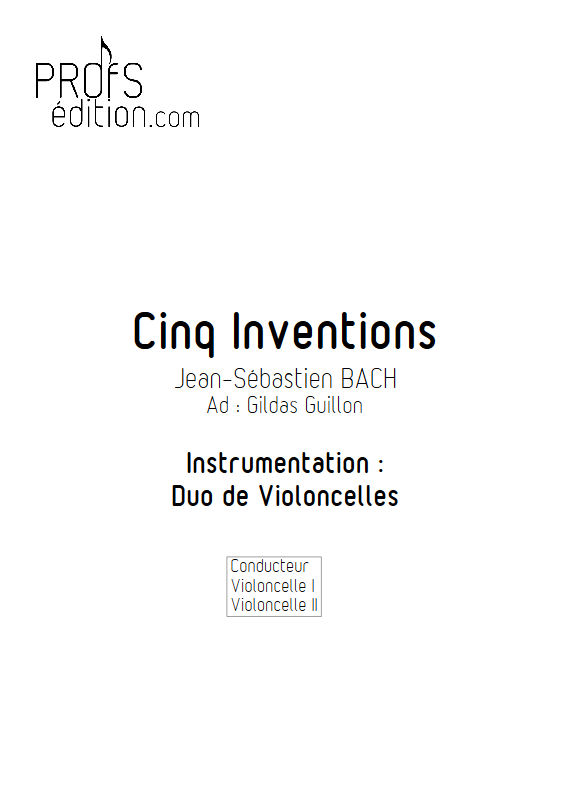 5 Inventions - Duo Violoncelles - BACH J. S. - front page