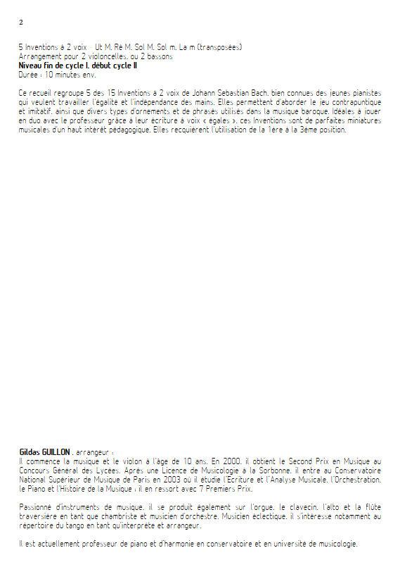 5 Inventions - Duo Violoncelles - BACH J. S. - Educationnal sheet