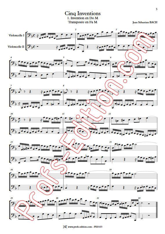 5 Inventions - Duo Violoncelles - BACH J. S. - app.scorescoreTitle