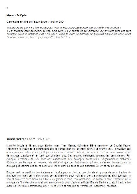 Clandestine - Piano Voix - SHELLER W. - Educationnal sheet