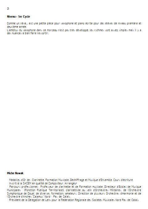 Comme dans un rêve - Saxophone Piano - NOWAK M. - Educationnal sheet