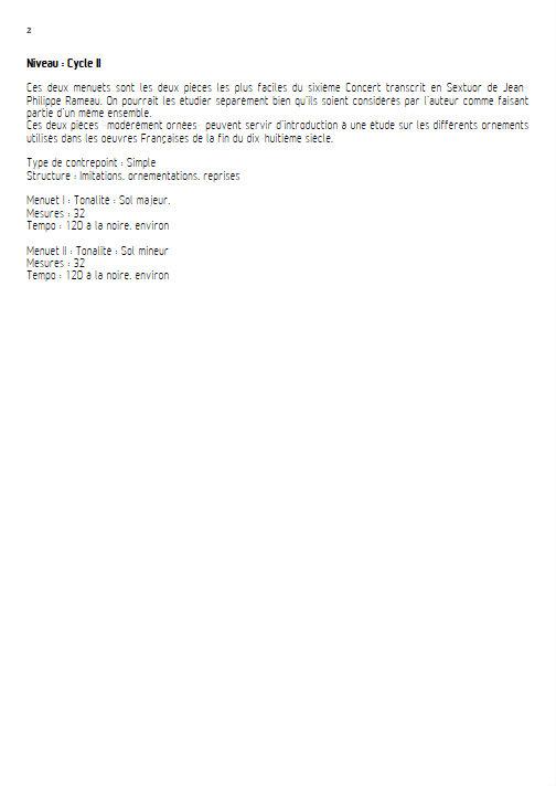 Concert VI - Menuet I & II - Sextuor à Cordes - RAMEAU Jean-Philippe - Educationnal sheet