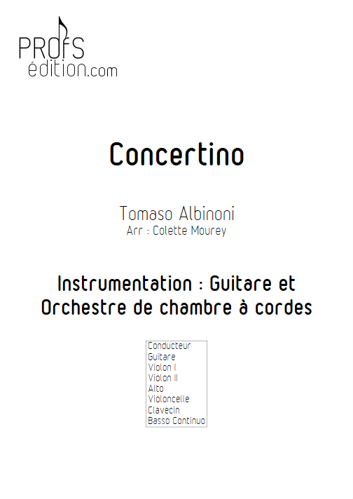 Concertino - Guitare & Orchestre de Chambre à Cordes - ALBINONI T. - front page