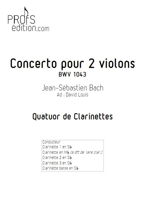 Concerto pour 2 violons BWV 1043 (Largo) - Quatuor de Clarinettes - BACH J. S. - front page