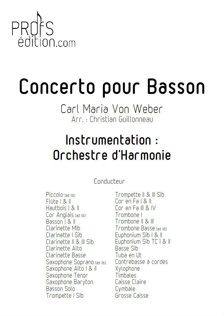 Concerto pour Basson - Orchestre Harmonie - WEBER C. M. V. - front page
