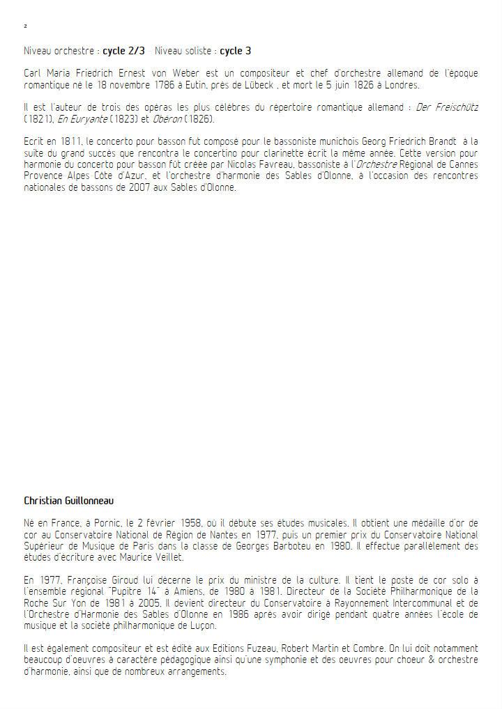 Concerto pour Basson - Orchestre Harmonie - WEBER C. M. V. - Educationnal sheet