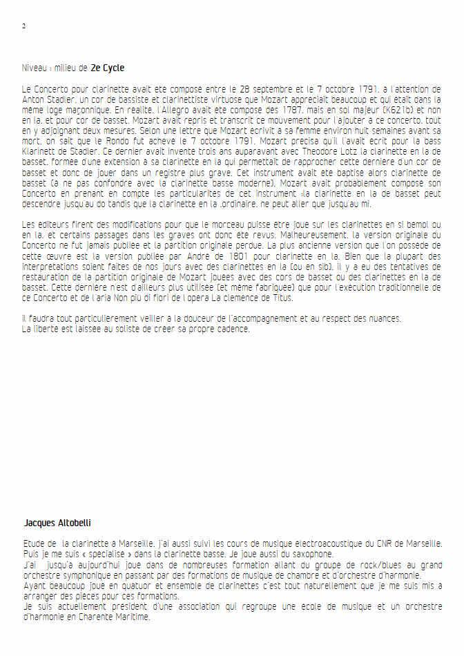 Concerto pour Clarinette KV622 (Adagio) - Ensemble Géométrie Variable - MOZART W. A. - Educationnal sheet