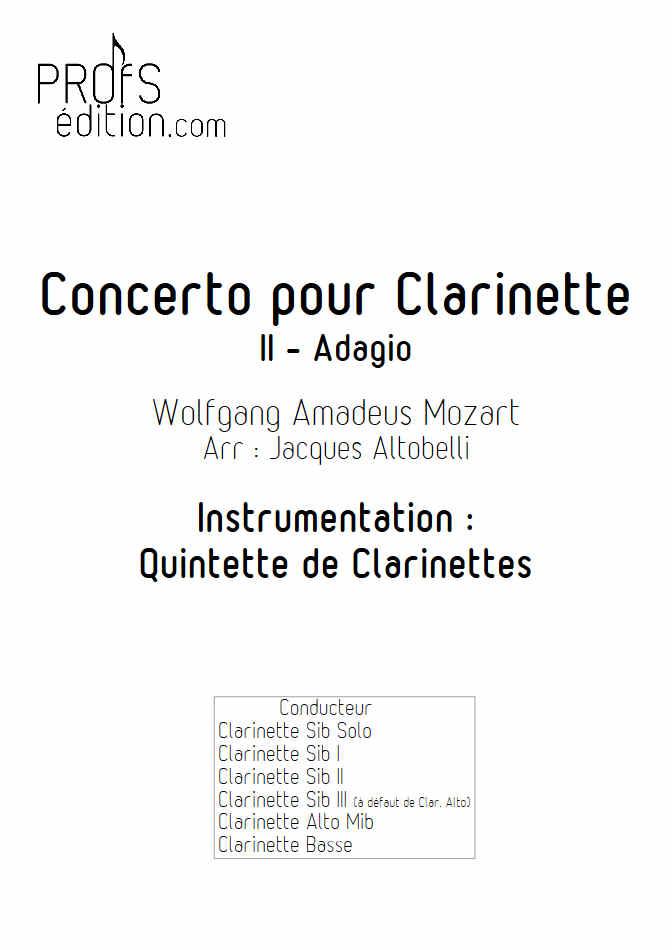Concerto pour Clarinette KV622 (Adagio) - Quintette Clarinettes (Clar Sib) - MOZART W. A. - front page