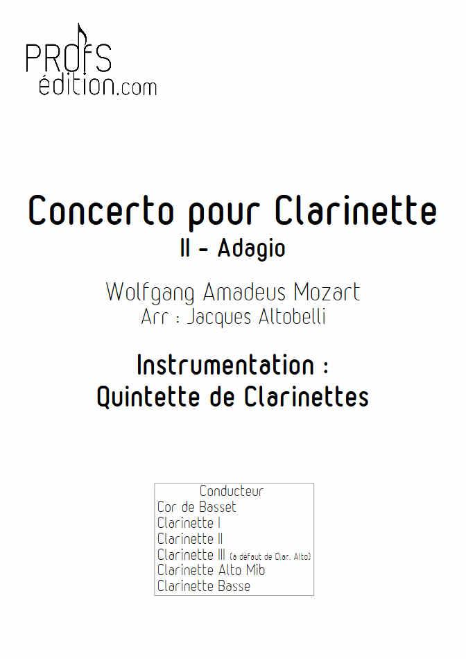 Concerto pour Clarinette KV622 (Adagio) - Quintette Clarinettes (Cor de Basset) - MOZART W. A. - front page