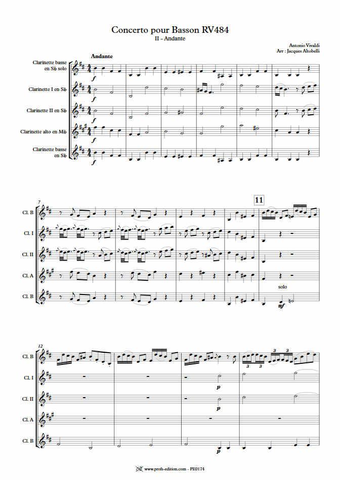 Concerto pour Basson RV484 (Andante) - Quintette Clarinettes - VIVALDI A. - Educationnal sheet