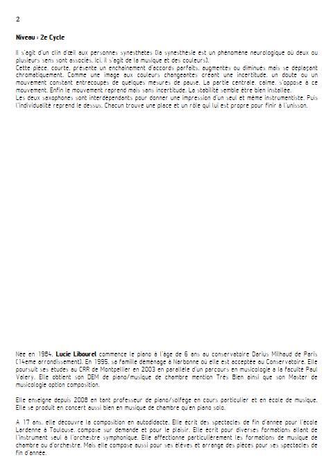 Couleurs fugitives - Duo de Saxophones - LIBOUREL L. - Educationnal sheet