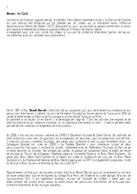 La Chanson de Craonne - Orchestre d'Harmonie - SABLON C. - Educationnal sheet