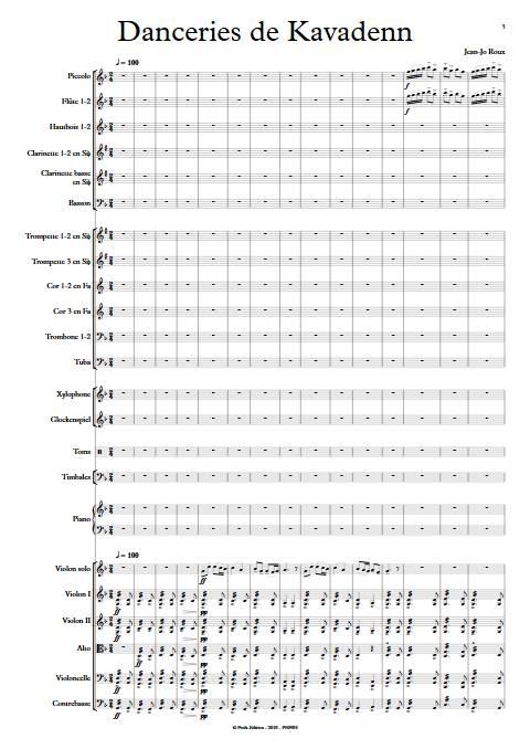 Danceries de Kavadenn - Orchestre symphonique - ROUX J.J. - app.scorescoreTitle
