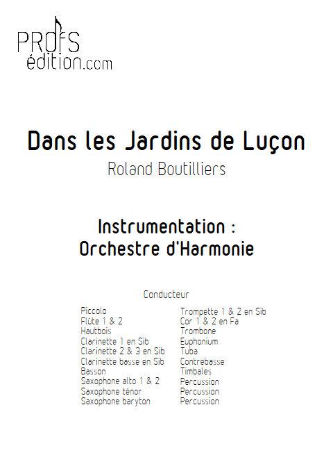 Dans les Jardins de Luçon - Orchestre d'Harmonie - BOUTILLIERS R. - front page