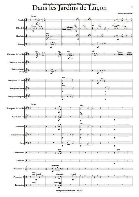 Dans les Jardins de Luçon - Orchestre d'Harmonie - BOUTILLIERS R. - app.scorescoreTitle