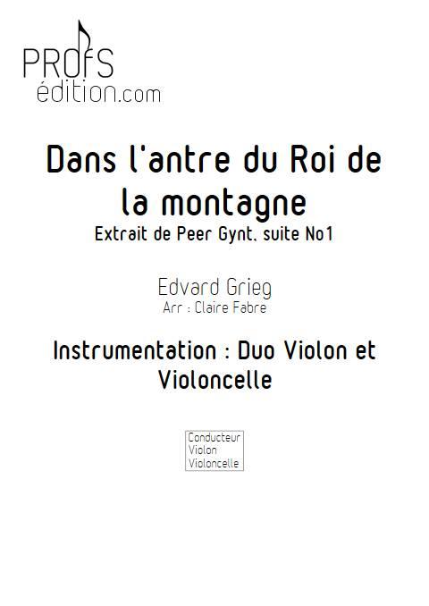 Dans l'Antre du Roi de la Montagne - Duo violon Violoncelle - GRIEG E. - front page