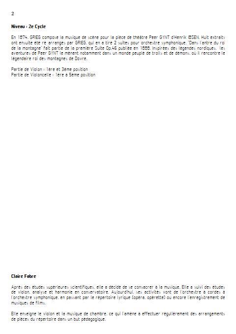 Dans l'Antre du Roi de la Montagne - Duo violon Violoncelle - GRIEG E. - Educationnal sheet