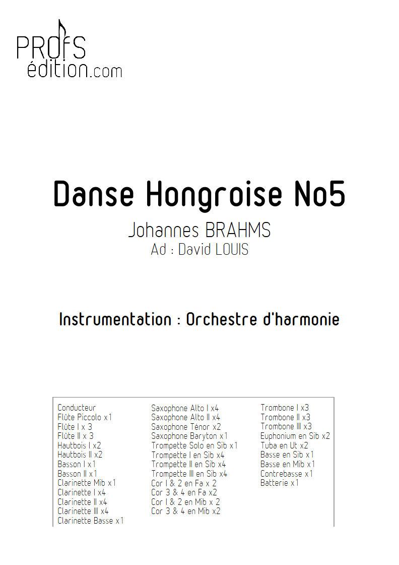 Danse hongroise N°5 PDF - Orchestre harmonie - BRAHMS J. - front page