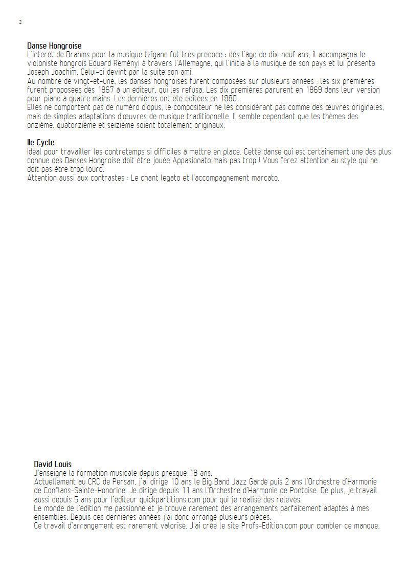 Danse hongroise N°5 PDF - Orchestre harmonie - BRAHMS J. - Educationnal sheet