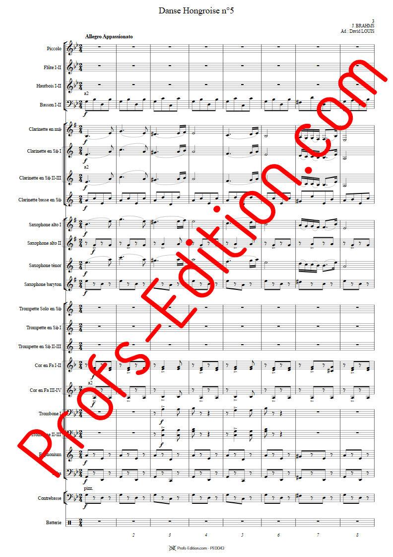 Danse hongroise N°5 PDF - Orchestre harmonie - BRAHMS J. - app.scorescoreTitle