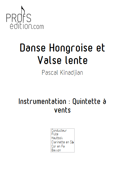 Danse hongroise et Valse lente - Quintette à vents - KINADJIAN P. - front page