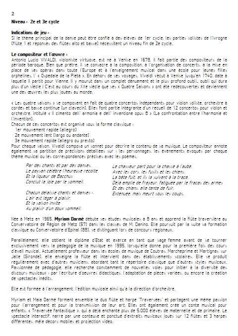 Automne 1er mvt - Ensemble de flûtes - VIVALDI A. - Educationnal sheet