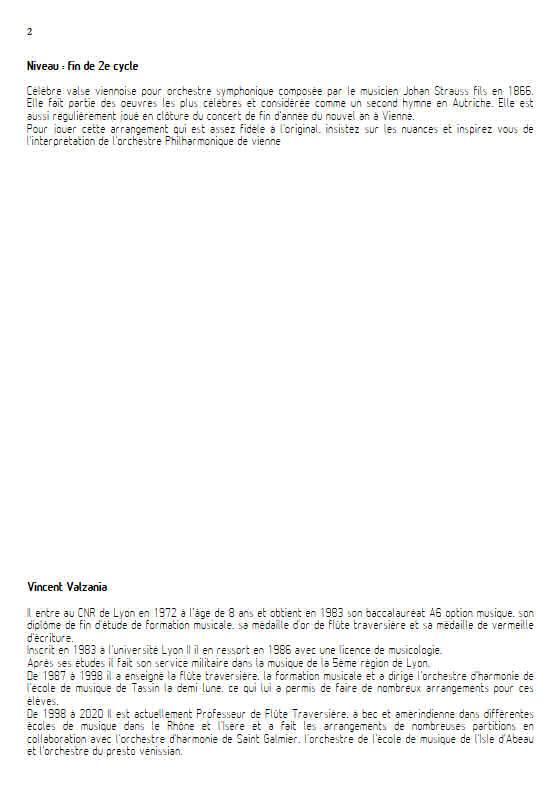 Le beau Danube bleu - Ensemble Variable - STRAUSS J. II - Educationnal sheet