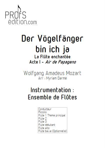 Der Vögelfänger bin ich ja - Ensemble de Flûtes - MOZART W.A. - front page