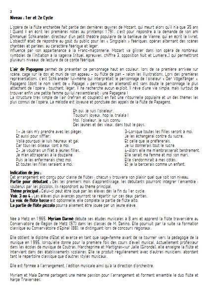 Der Vögelfänger bin ich ja - Ensemble de Flûtes - MOZART W.A. - Educationnal sheet