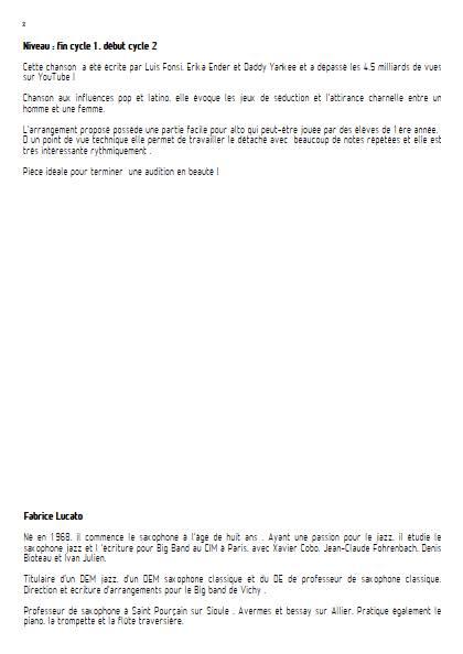 Despacito - Ensemble de Saxophones - FONSI L. - Educationnal sheet