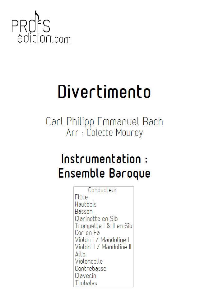 Divertimento - Ensemble Baroque - BACH C. P. E. - front page