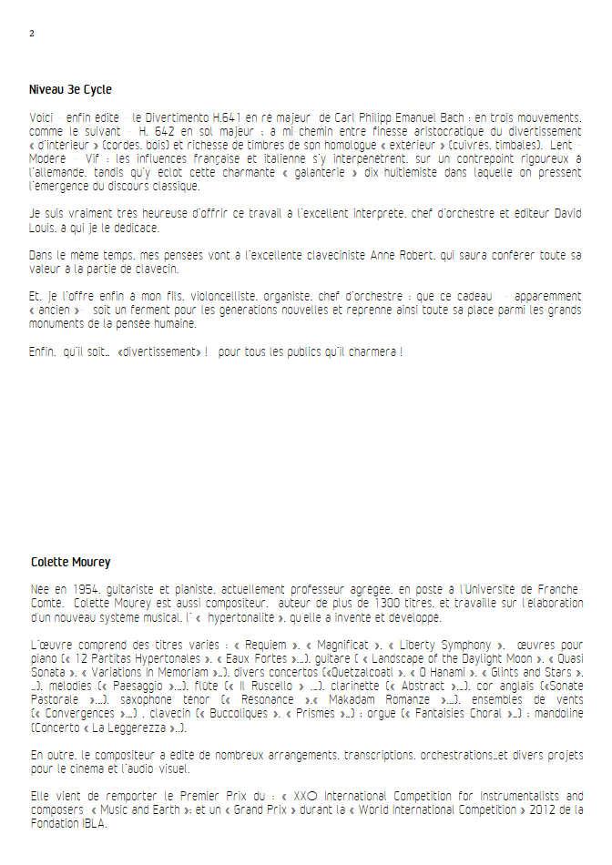 Divertimento - Ensemble Baroque - BACH C. P. E. - Educationnal sheet
