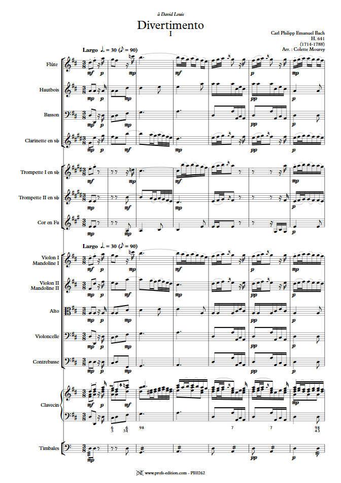 Divertimento - Ensemble Baroque - BACH C. P. E. - app.scorescoreTitle