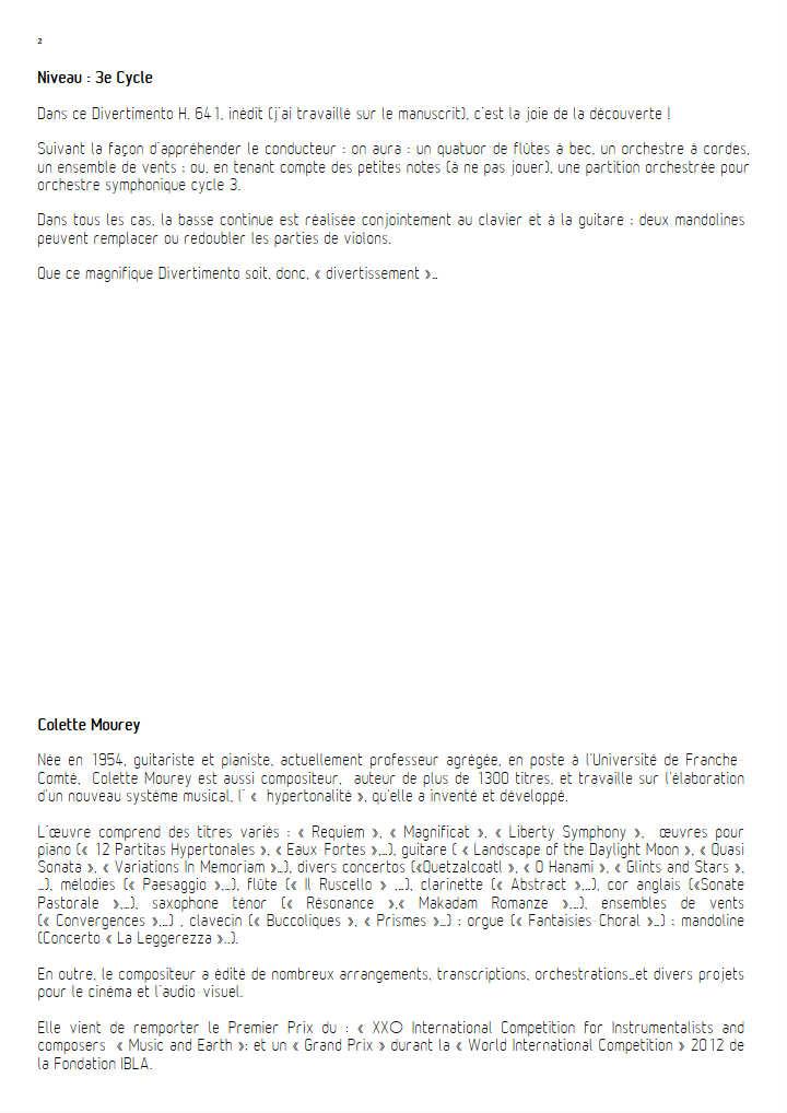 Divertimento - Ensemble à Géométrie Variable - BACH C. P. E. - Educationnal sheet
