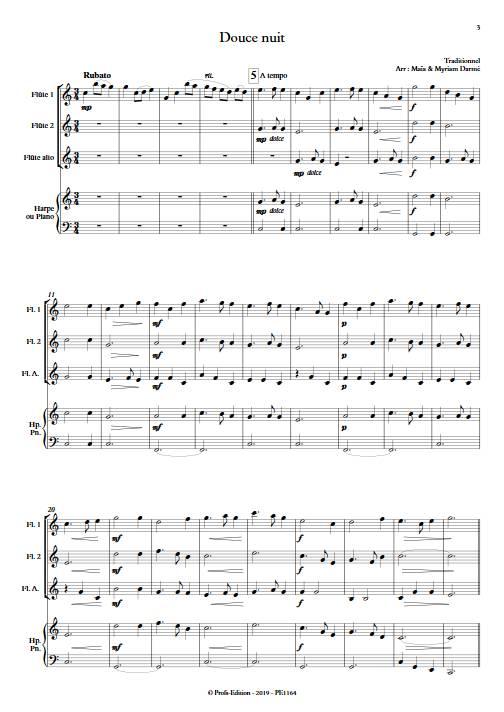 Douce nuit - Ensemble de flûte et piano ou harpe - TRADITIONNEL - app.scorescoreTitle