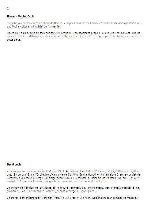 Douce nuit Jazz - Ensemble Variable - GRUBER F. X. - Educationnal sheet