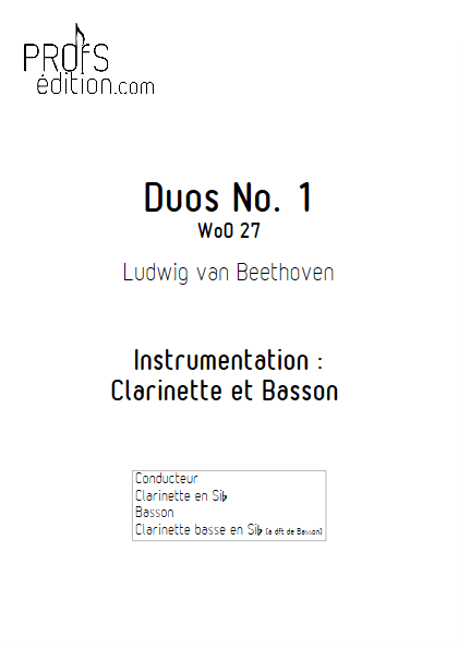 Duo N°1 WoO 27 - Clarinette et Basson (Clar Bs à dft) - BEETHOVEN L. V. - front page