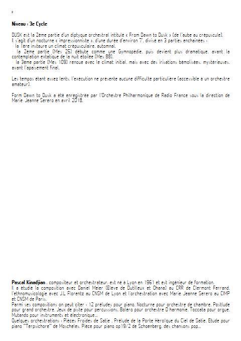 Dusk - Orchestre Symphonique - KINADJIAN P. - Educationnal sheet