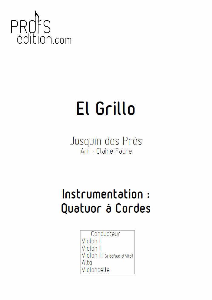 El Grillo - Quatuor à Cordes - DES PRES J. - front page