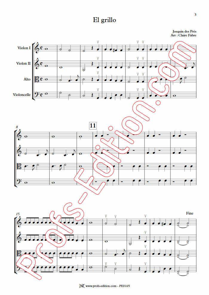 El Grillo - Quatuor à Cordes - DES PRES J. - app.scorescoreTitle