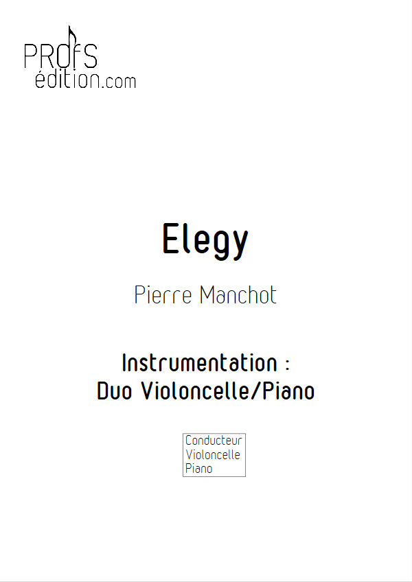 Elegy - Duo Violoncelle & Piano - MANCHOT P. - front page