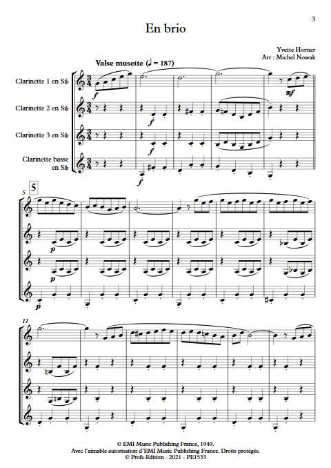 En brio - Quatuor de Clarinettes - HORNER Y. - app.scorescoreTitle