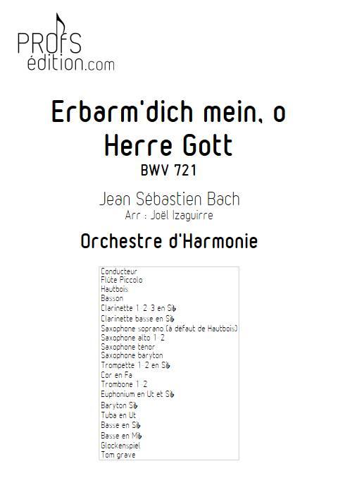 Erbarm'dich mein, o Herre Gott - Orchestre d'Harmonie - BACH J. S. - front page