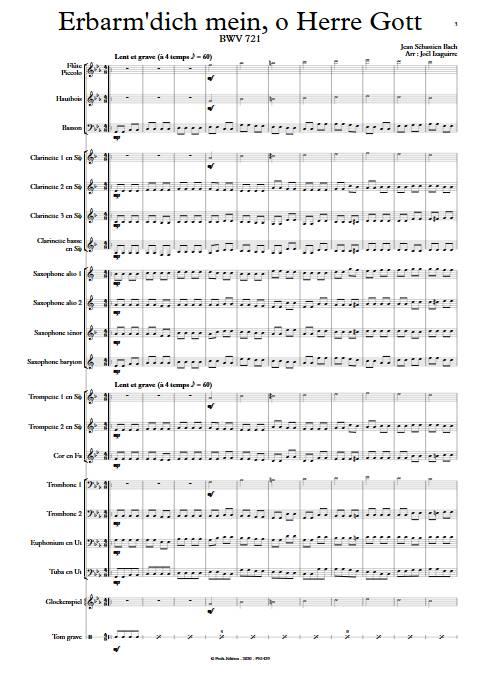Erbarm'dich mein, o Herre Gott - Orchestre d'Harmonie - BACH J. S. - app.scorescoreTitle