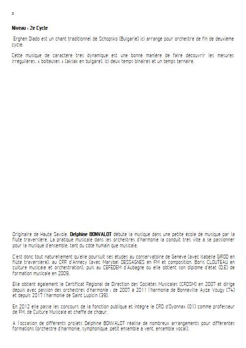 Erghen diado - Orchestre Symphonique - BONVALOT D. - Educationnal sheet