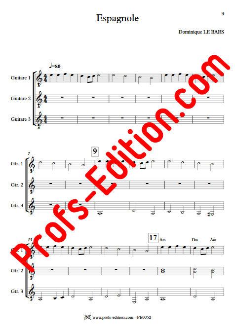 Espagnole - Trios Guitare - LE BARS D. - app.scorescoreTitle