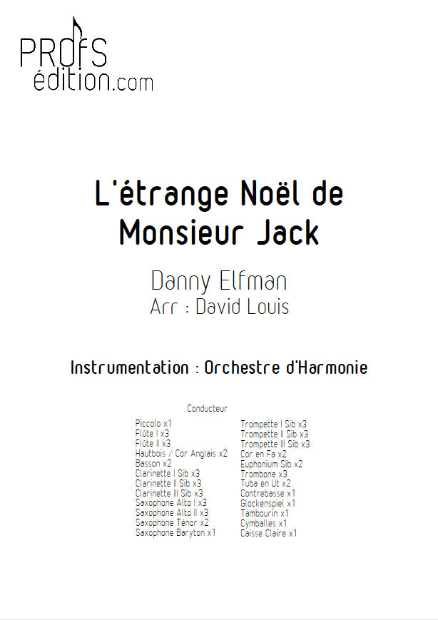 L'étrange Noël de Monsieur Jack - Orchestre Harmonie - ELFMAN D. - front page