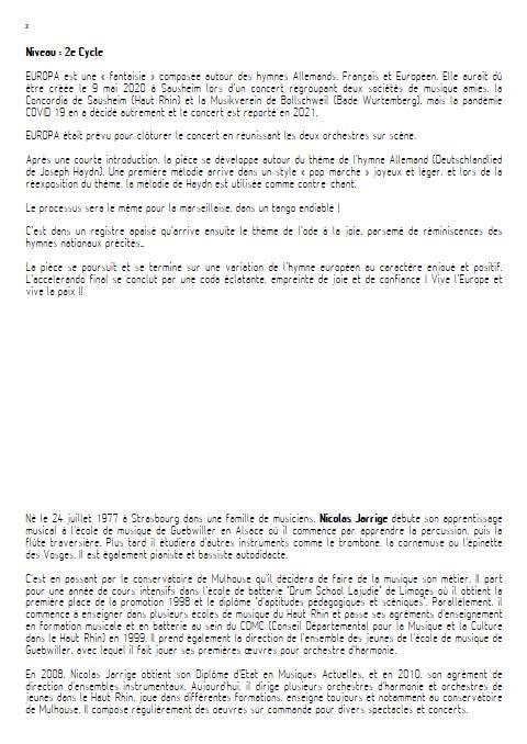 Europa - Orchestre d'Harmonie - JARRIGE N. - Educationnal sheet