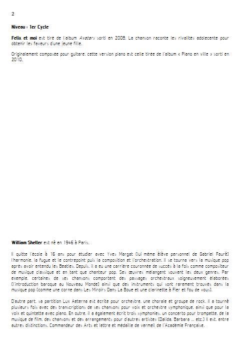 Félix et moi - Piano Voix - SHELLER W. - Educationnal sheet